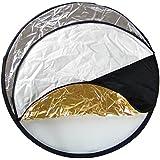 DynaSun 5en1 Ø80cm Réflecteur Diffuseur Lumière Pliable Réversible Professionnel Or, Blanc, Argenté, Noire et Translucide pour Studio Photo Vidéo