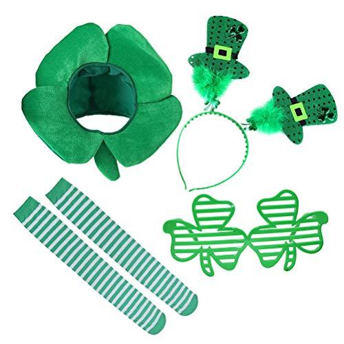 Amosfun St. Patrick´s Day Kostüm Shamrock Hut Stirnband Brille Strümpfe Irland St. Patricks Day Kostüm Zubehör 4 Stück (Grün) (Stirnbänder Day St S Patrick)