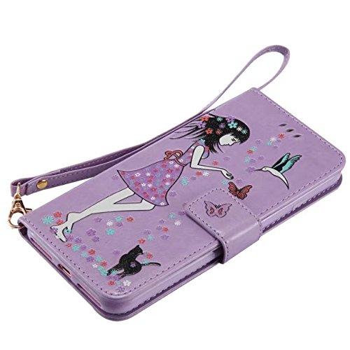 EKINHUI Case Cover Horrizontal Folio Stand PU Leder + TPU Tasche, Geldbörse Geldbörse Abdeckung Fall mit Lumious Shining Effekt & Lanyard für iPhone 7 Plus ( Color : Pink ) Purple