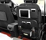 LIYUU PU-Leder Auto-Rückenlehnenschutz Multifunktionssitzauto Aufbewahrungsbeutel mit 2 Tabletts,Black