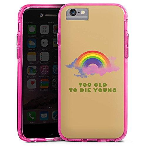 Apple iPhone 6s Bumper Hülle Bumper Case Glitzer Hülle Regenbogen Rainbow Life Bumper Case transparent pink