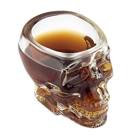 2x Transparent Crâne de Cristal Verre Coupe Shot Skull Glass Cocktail Whisky Vodka Vin Tasse