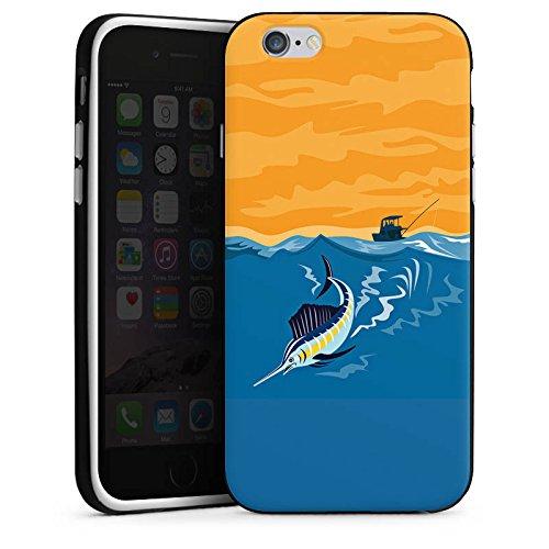 Apple iPhone X Silikon Hülle Case Schutzhülle Schwertfisch Angeln Fisch Silikon Case schwarz / weiß