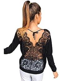 Kolylong® Sweatshirt Damen Frauen Elegante Spitze Rundhals Bluse Herbst  Locker Langarm Shirts Rückenfreie Hemd V-Ausschnitt T-Shirt… 86e32ced0b