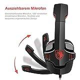 GHB Sades SA-901 7.1CH Surround Sound Stereo Headset PC Gaming Kopfhörer mit USB-Stecker und Mikrofon Rot+Schwarz - 4