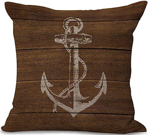 chezmax Baumwolle Leinen Kissenbezug Mediterraner Stil Muster Quadratisch Decor Kissen Sham dekorativer Überwurf-Kissenbezug Fall 45,7x 45,7cm, Anchor-2, WITHOUT FILLER