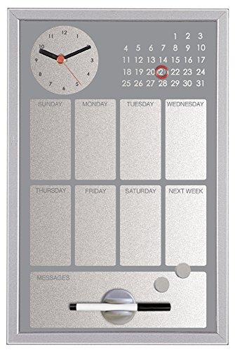 Bi-Office CG016652 Easy Black Planer mit integrierter Uhr und Wochenkalender, MDF Rahmen, lackierter Stahl, 30 x 45 cm, grau -