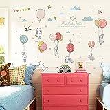 TONVER DIY Wall Stickers, balloon coniglio 3D autoadesivo foto creative Cartoon Art Peel and Stick autoadesiva carta da parati decorazione da parete per camera da letto, soggiorno, camera dei bambini