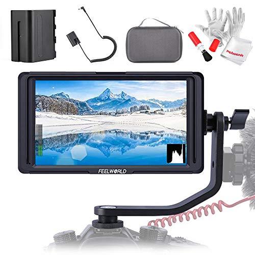 Feelworld F6S 5 Zoll IPS 1920 * 1080 4K Singal HDMI Input-Output Monitor mit Batterie, Dummy-Batterie und Tragetasche für Stabilisator & DSLR Kamera