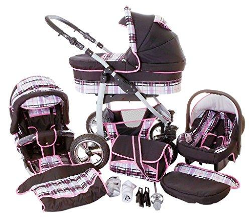 Chilly Kids Dino 3 in 1 Kinderwagen Set (Autosit & Adapter, Regenschutz, Moskitonetz, Schwenkräder) 41 Schwarz & Karo Grau & Naht Rosa