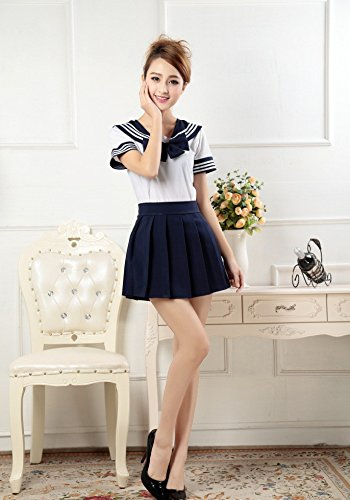 Vokaer Schuluniform Kurzarm Uniform Kleid Cosplay Kostüm Japan Anime Girl Lady Lolita,Navy (Kids Navy Kostüm)