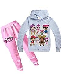 dgfstm - Conjunto de Sudadera con Capucha y pantalón para niña con Estampado de muñecas