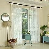 Cortinas bordadas blancas Voile Rod Pocket Grommet 39.37 '* 98.42' Joyful Elegance Insulation Window...