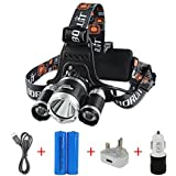 Boruit LED Head Torch Headlamp Rechargeable Headlight with 4 Modes, 3XM-L T6 LED Focus Waterproof Headlight Flashlight for Hiking Camping Hunting Climbing Cycling Fishing Outdoors Light (RJ-3001)