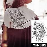 tzxdbh Autocollant de Tatouage de Sein imperméable Ligne Rose Pivoine Tatouage Body Art pour Les Femmes-dans Les Tatouages   de 05-TH385...