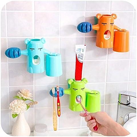 Zuolan - Set 3 in 1 da parete composto da distributore automatico di dentifricio, portaspazzolini e bicchiere, a forma di orso Orange