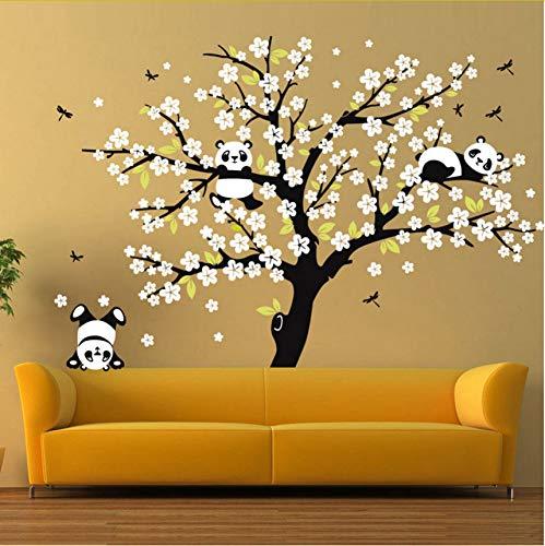 Wuyyii Riesige Weiße Kirschblüten-Baum-Wand-Aufkleber-Kindergarten-Dekorative Abziehbilder, Die Panda Wall Decal Für Kinderzimmer-Sofa-Hintergrund Spielen