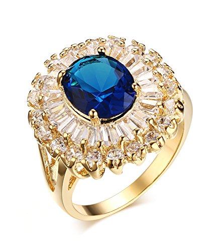 Vnox la femme est plaqué or cuivre bling zircon cocktail bague de mariage promesse engagement,cristal bleu stone