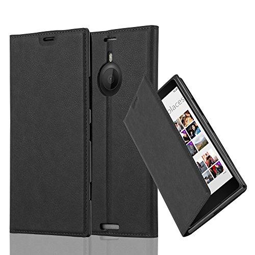 Cadorabo Hülle für Nokia Lumia 1520 - Hülle in Nacht SCHWARZ – Handyhülle mit Magnetverschluss, Standfunktion und Kartenfach - Case Cover Schutzhülle Etui Tasche Book Klapp Style