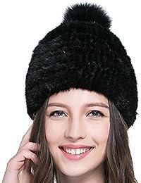 URSFUR bella donna vera pelliccia berretto cappello invernale cappello di  pelliccia Basco Berretto cc681eb4be91