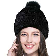 e0fb73985ff2 URSFUR Chapeau Bonnet à Torsade Femme En Fourrure De Vison Printemps