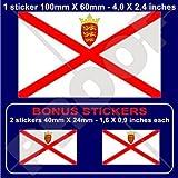 Jersey Drapeau Îles Anglo-Normandes UK 10,2cm Bumper Sticker en vinyle (100mm), en x1+ 2Bonus