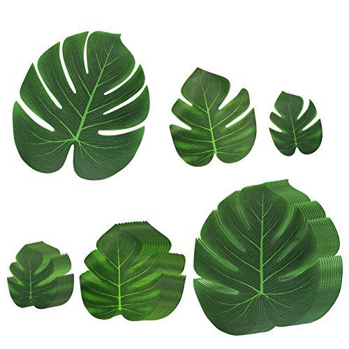 BUZIFU 36 Stück Tropische Blätter, Palmenblätter Tischdekoration Hochzeit Deko für Hawaii Dschungel Jungle Strand Thema Party, 3 Größen (Teller Wand 2)