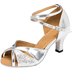 Zhuhaixmy New Frauen Satin Ballroom lateinisch Salsa Square Dance Anti-Rutsch Soft Tanzschuhe