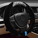 RUIRUI Invierno caliente leopardo imprimir coche peluche cubierta del volante