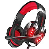 VersionTECH. Casque Gaming Filaire Pour PS4 Xbox One PC Avec Microphone Anti-bruit, Contrôleur de Volume, Son Surround, Les Lumières LED Pour Ordinateur Portable, Nintendo Switch, Macbbok - Rouge