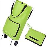 Bolso de la carretilla del carro de compras plegable del bolso de la carretilla con el bolso de la rueda y de la manija, color verde (paquete de 1)