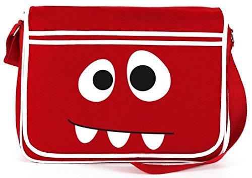 Shirtstreet24, MONSTER, Retro Messenger Bag Kuriertasche Umhängetasche , Größe: onesize,Rot (Bag Messenger Retro Rote)