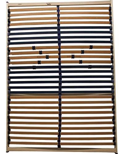 KOMPLETT MONTIERTES 5 Zonen Lattenrost 140x200 cm, 28 Leisten, Härte verstellbar mit Mittelgurt, 180 kg - EINFÜHRUNGSPREIS (140x200)