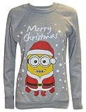 Als Geschenkidee zu Weihnachten bestellen Für den Freund - Frauen-Dame Weihnachten Neuheit Minion Print Weihnachten Sweatshirt Jumper (M/L (UK 12-14 EU 40-42 US 8-10), lichtgrau)