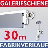 Galerieschiene 30m, Komplettset mit Zubehoer in weiss, Bilderschienen set 30m