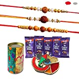 #6: Maalpani Set of 3 Rudraksh Rakhi, 5 Chocolates, 1 Ganesh Kankavati and 1Tin Box Gift Hamper Small