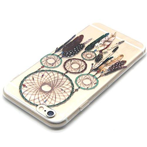 iPhone 6 Caso,iPhone 6s Cassa, CLTPY Marvel Colorato Belle Particolari Dipinto Disegni Shell Skin in Liscio Smooth Toccare Gomma,Resistente Urti Antiurto Chiaro Cristallo Posteriore Involucro Guscio p Campanula Piuma