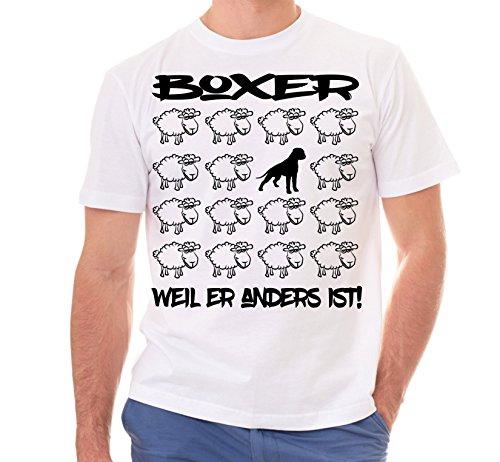 Siviwonder Unisex T-Shirt BLACK SHEEP - BOXER deutscher - Hunde Fun Schaf Weiß