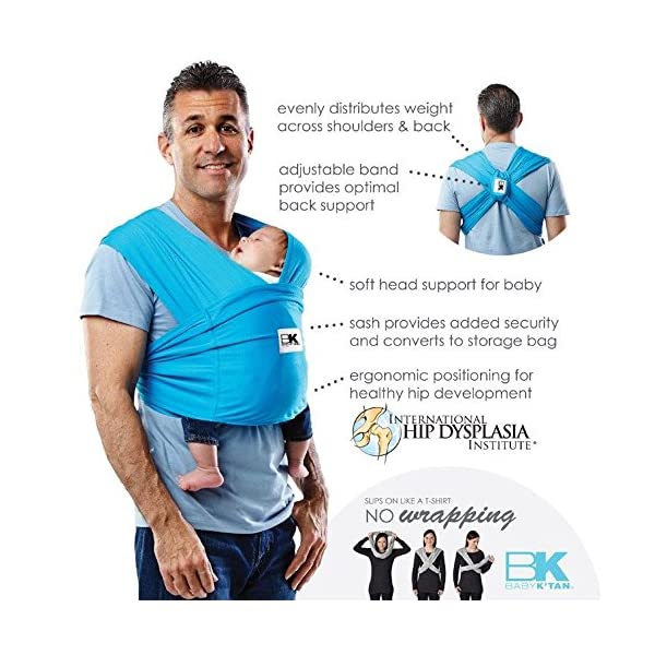 Baby K'tan Carrier (X-Large, Ocean Blue Active) Baby Ktan Easy to use and put on: NO WRAPPING INVOLVED.  6 positions to conveniently carry baby & toddlers from 8 lbs to 35 lbs Hi-tech fabric blocks over 90% of UVA & UVB rays Unique HYBRID double-loop design holds baby securely and evenly distributes weight across back and both shoulders. Washer & dryer safe 6