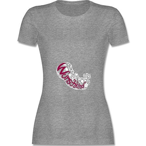 Schwangerschaft - Wunschkind - tailliertes Premium T-Shirt mit Rundhalsausschnitt für Damen Grau Meliert