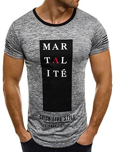 OZONEE Herren T-Shirt mit Motiv Kurzarm Rundhals Figurbetont J.STYLE SS010 Dunkelgrau_J.STYLE-SS010