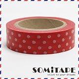 Rouge avec du blanc à pois Washi Tape, Artisanat ruban décoratif