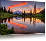 Sunrise mountain scenery, painting on canvas, XXL Pictures completely framed with large wedge frames, wall picture art print with frame, cheaper than painting or an oil painting, not a poster or placard, Leinwand Format:100x70 cm