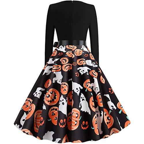 LILIGOD Damen 50er Jahre Vintage Kleider Frauen Langarm Rockabilly Kleider Elegant Cocktailkleider Halloween Langarm Partykleider Audrey Hepburn Kleid Partei Abendkleid
