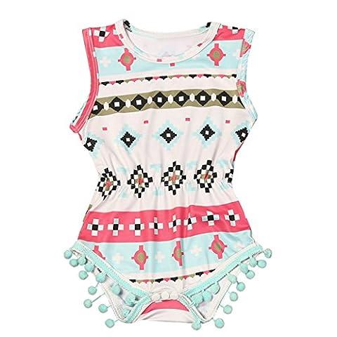OverDose Baby Girls Sleeveless Geometric Printing Onesies Outfits