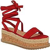 Fashion Thirsty Damen Espadrille-Sandalen mit Keilabsatz & Schnürung - Kork-Plateausohle - Rotes Veloursleder-Imitat - EUR 36