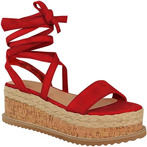 Donna Forma Piatta Sughero Espadrille Sandali con Zeppa alla Caviglia da Allacciare Scarpe Numeri - Rosso Pelle Scamosciata, 40