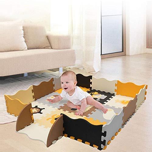 precauti Baby Schaum Spielmatte mit Zaun Ineinandergreifende Krabbelmatte mit 23 Schaumbodenfliesen für Kinder Kleinkinder Gymnastikmatten Krabbeldecke zum Spielen