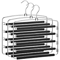 SONGMICS Trousers Hangers, Set of 3 Space-Saving Multi-Bar Metal Pants Hangers, Stable with Non-Slip Padding, Swing Bars for 5 Jeans Each, Suit Pants, Scarves, Ties