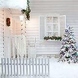 YongFoto 2,5x2,5m Vinyl Foto Hintergrund Weihnachten Baum Garland Lantern Wood Zaun Heavy Schnee Natur Winter Weihnachten Fotografie Hintergrund für Fotoshooting Party Hochzeit Requisiten